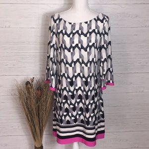 Eliza J Gray & Pink Chevron Shift Dress - 14